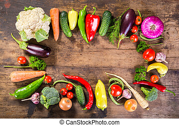 plenty of vegetables on wooden table