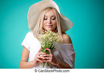 plesant, 氣味, ......的, chamomiles., 嗅覺, concept., 花束, 由于, 甜,...