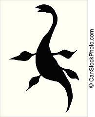 silhouette of plesiosaur, ancient sea monster