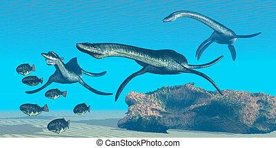 Plesiosaurus Ocean - A pack of Plesiosaurus dinosaurs hunt a...