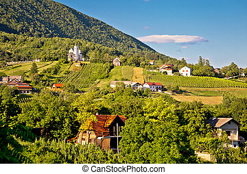 Plesivica village in green nature, northern Croatia