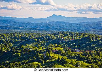 Plesivica vineyard region aerial view