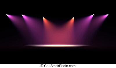 plet, scene, lys