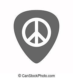 plettro, chitarra, pace, isolato, segno