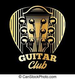 plettro, chitarra, vettore, sagoma, logotipo