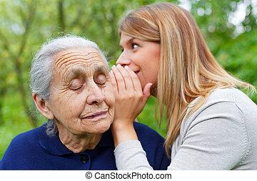 pletyka, titkos, fül, grandma's