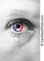 pleurer, terroriste, fin, islamique, francais, paris, reflet, haut, jeune, sien, attaque, référence, triste, homme, isis, iris, drapeau, oeil, larmes