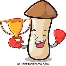 pleurotus, boxeo, hongo, ganador, erynggi, caricatura, ...
