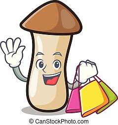 pleurotus, compras, hongo, carácter, erynggi, caricatura