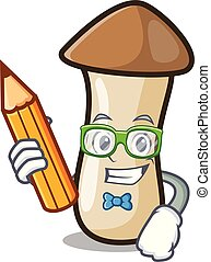 pleurotus, hongo, carácter, estudiante, erynggi, caricatura