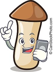 pleurotus, hongo, carácter, teléfono, erynggi, caricatura