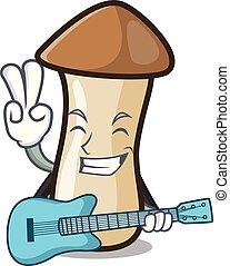 pleurotus, hongo, guitarra, erynggi, caricatura, mascota