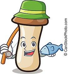 pleurotus, hongo, pesca, erynggi, caricatura, mascota