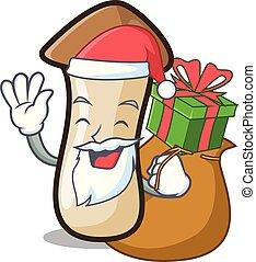 pleurotus, hongo, regalo, santa, erynggi, caricatura, ...