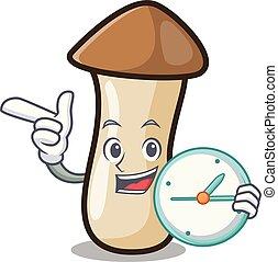 pleurotus, hongo, reloj, carácter, erynggi, caricatura