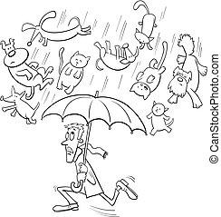pleuvoir, chiens, dessin animé, illustration, chats