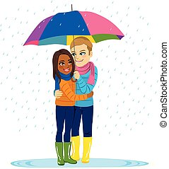 pleuvoir, couple, romantique