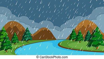 pleuvoir, scène, nuit