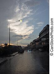 pleuvoir, voiture, quand, fenêtre, route, vue