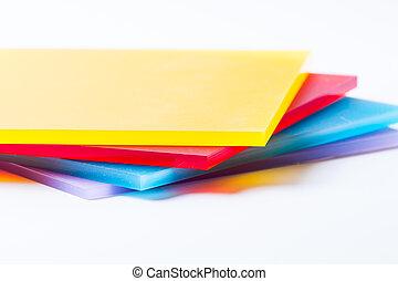 plexiglass, fogli, colorato