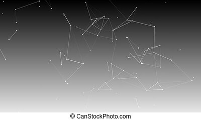 Plexus background with lines and polygonal spheres in space.
