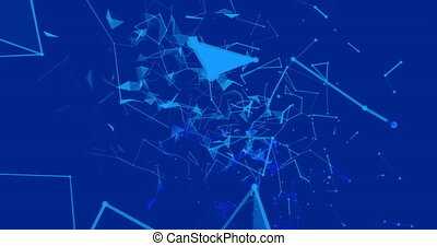 Digital animation of Plexus networks moving against blue background. Global networking and connection concept. Global networking and connection concept