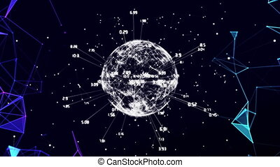 Digital animation of Plexus networks over globe of Network of connections against black background. Global networking and connection concept