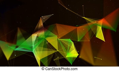 Plexus of abstract lines, triangles and dots.