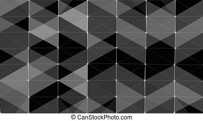 Plexus of abstract lines, triangles and dots. Black background. Loop animations.