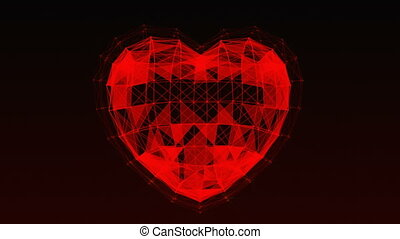 Plexus of abstract lines, triangles and dots. Heart, love.
