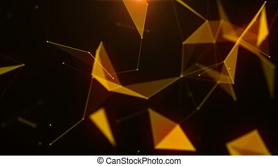 Plexus of abstract lines, triangles and dots. Technologies.