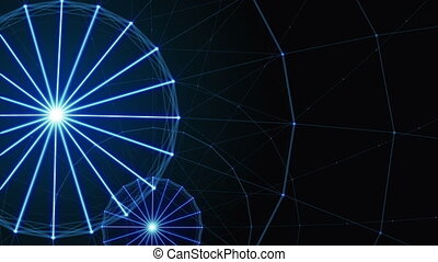 Plexus of abstract lines, triangles and dots. Ferris wheel.