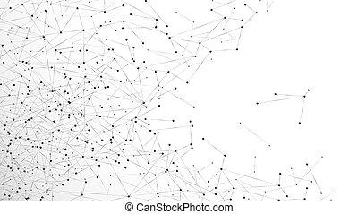 plexus., rete, particella, disordine, pattern., astratto, web., isolato, illustrazione, fondo., vettore, collegato, atomico, fondo, nodi, molecolare, bianco