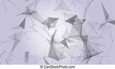 plexus., technology., résumé, arrière-plan., noir, blanc, animation., boucle