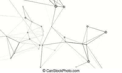 plexus., technology., résumé, arrière-plan., noir, blanc, animation.