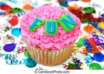 plezier, cupcake, -, viering