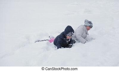 plezier, geitjes, hebben, sneeuw