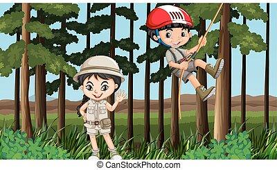 plezier, jongen, meisje, bos, hebben