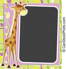 plezier, kader, giraffe