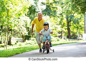plezier, kind, park, hebben, grootvader