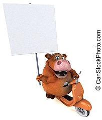 plezier, koe, illustratie, 3d, -