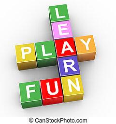 plezier, kruiswoordraadsel, toneelstuk, leren