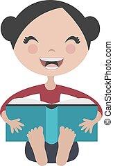 plezier, meisje, boek, lezende , spotprent