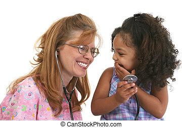 plezier, meisje, verpleegkundige, kind