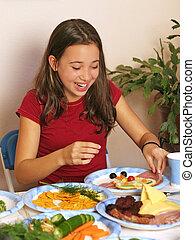 plezier, met, voedingsmiddelen