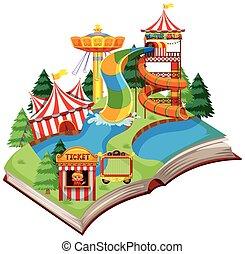 plezier, open, thema, boek, park