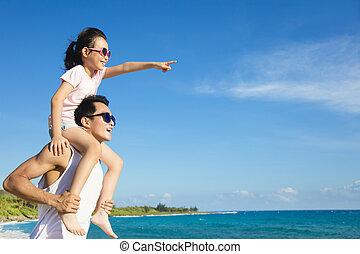 plezier, vader, strand, dochter, hebben