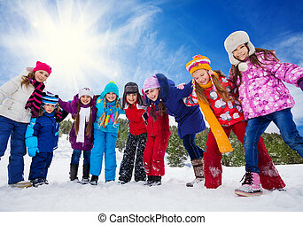 plezier, vrienden, sneeuw, hebben