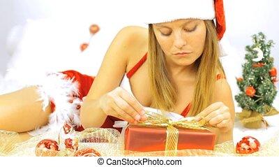 plezier, vrouw, claus, hebben, kerstman