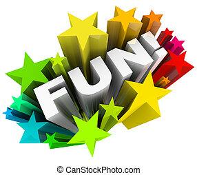 plezier, woord, sterretjes, starburst, amusement, vermaak